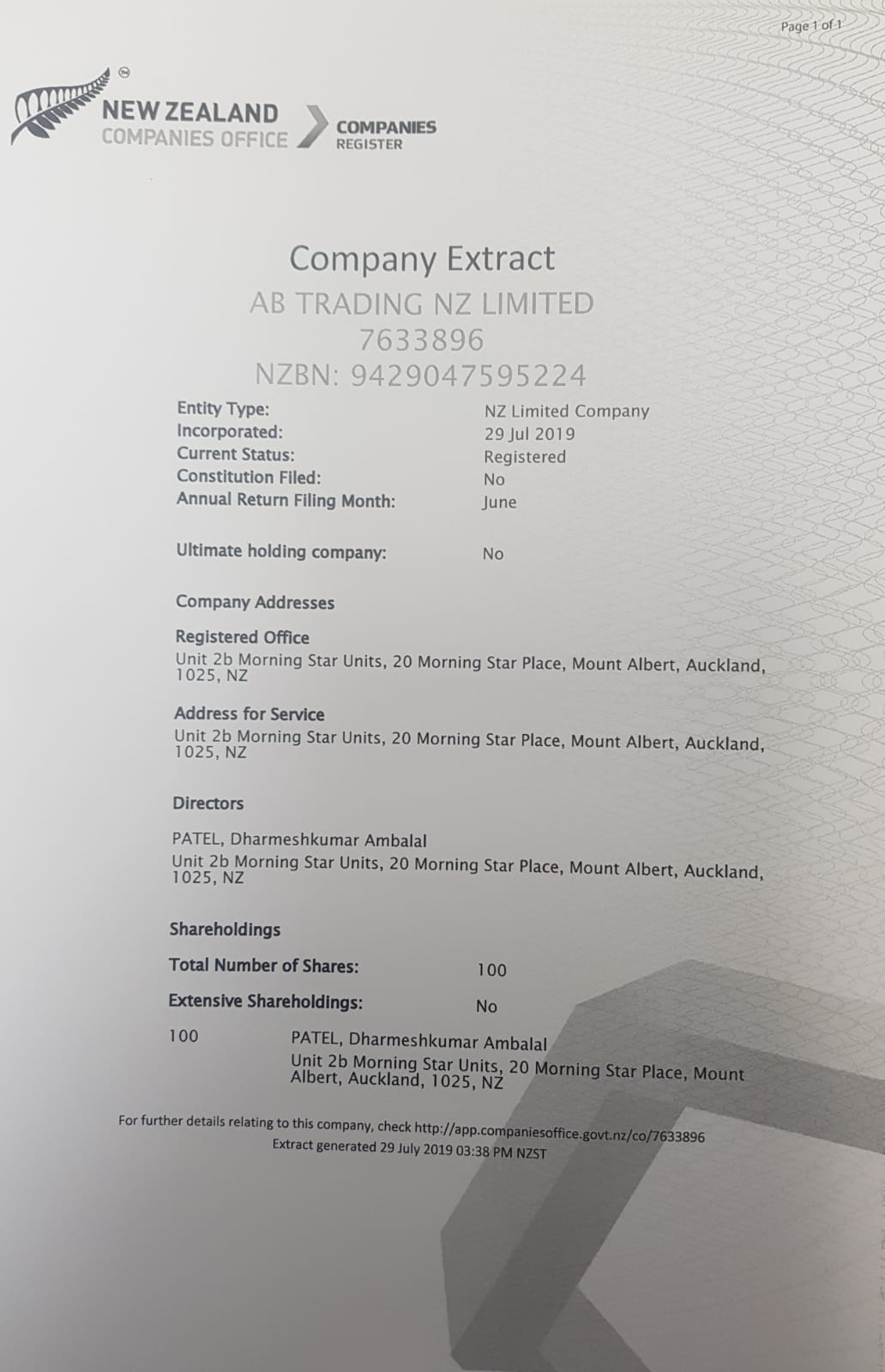 New Zealand Company Registration Certificate